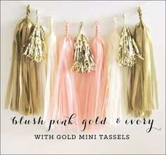 Add a touch of vintage inspiration to your party with our blush pink, ivory and gold tassel garland kit. Hang them on tables, behind dessert bars or even on the walls for a sweet splash of color. Each