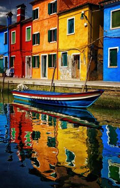 Canal Reflections of Burano / Veneto, Italy. Boats and colors