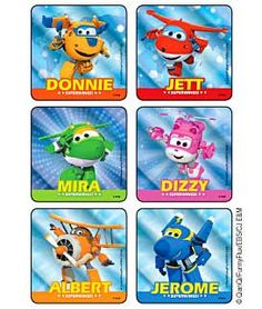 Sticker Pack - Super Wings Character Foil Square - 90 ct