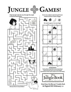 new jungle book disney printable activities for kids