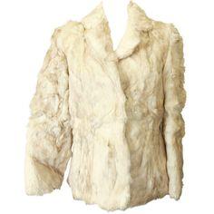 Genuine Fur Coat, Vintage Rabbit Fur Coat, White Cream Jacket, Coat... ($69) ❤ liked on Polyvore featuring outerwear, coats, cropped fur coat, cream coat, fur coat, white rabbit fur coat and leather-sleeve coats