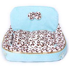 Pet One-side High-back Leopard Print Dog Cat Kennel House Bed