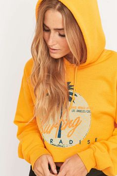 BDG Surfing Cropped Yellow Hoodie - Urban Outfitters