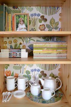 wallpaper + hutch/ bookshelf