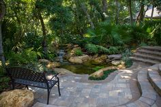 Earth Works can design any sort of sunken garden with Tremron pavers, stonegate walls on re-graded terrain PLUS install an amazing Aquascape ecosystem pond. Diy Water Feature, Backyard Water Feature, Ponds Backyard, Garden Ponds, Patio Pond, Koi Ponds, Pond Landscaping, Landscaping With Rocks, Building A Pond
