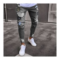 2018 Classic Cowboys Young Man black blue men's Casual Thin Summer Denim Pants hole embroidered jeans Slim men trousers NEW Levis Skinny Jeans, Denim Jeans, Blue Jeans, Jeans Pants, Denim Fashion, Street Fashion, Fashion Men, Black Men Fashion Style, Fashion Photo