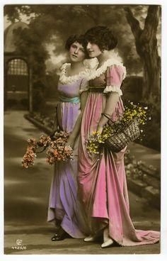 Circa 1914 Strolling Pretty Pair Tinted Art Nouveau Photo Postcard   eBay