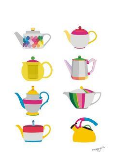 Tea print  Teapots  kitchen art print by PragyaK on Etsy, $20.00