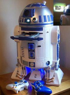 Microsoft Xbox 360 Star Wars R2-D2 Slim Edition Custom case mod W/ projector