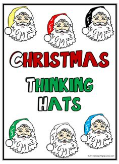 Christmas Thinking Hats | Charts |  A set of classic Santa six thinking hats charts with key thinking words. An excellent resource for the Christmas season.