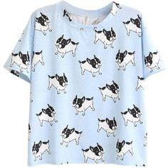 Choies Blue Cute Dog Print Short Sleeve T-shirt found on Polyvore featuring polyvore, fashion, clothing, tops, t-shirts, shirts, tees, blue, dog print t shirts and short sleeve tees