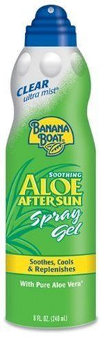 Banana Boat Ultra Mist Aloe, 8-Ounces (Pack of 6) by Banana Boat. Save 53 Off!. $19.99. Goes on clear and dries quickly; Provides fast and easy coverage; Rub-free cooling relief with Aloe Vera and Vitamin E; Clean fresh fragrance; This item is not for sale in Catalina Island. Replenish your skin's moisture after a fun day in the sun. This soothing formula is refreshingly cool after a day in the heat and helps prevent peeling.