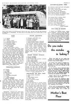 Kitchen Klatter Magazine, August 1940 - Bars, Pineapple Dessert, Peach Conserve, Sweet Peach Pickles, Chocolate Ice Box Cake, Use Lard in Baking
