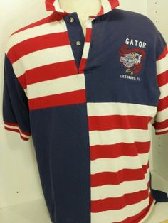 Harley Davidson Motorcycle Shirt Mens SZ M GATOR Leesburg FL RED WHITE BLUE Polo