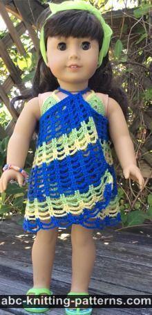 ABC Knitting Patterns - American Girl Doll Two-Piece Swim Suit (Bikini Top and Skirt Bottom)