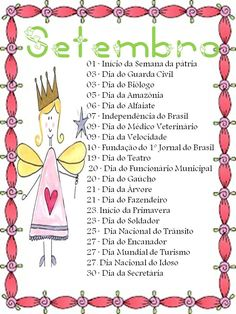 Resultado de imagem para datas comemorativas mes de setembro educação infantil