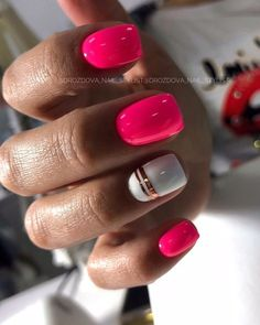 Wonderful color nails 😍😍 by Simple Gel Nails, Summer Gel Nails, May Nails, Pink Nails, Dipped Nails, Nagel Gel, Cute Acrylic Nails, Square Nails, Perfect Nails