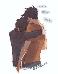 Sad hug. Percy and Nico< I LOVE THEM SOOO MUCH *harp seal velociraptor combo fangirls*