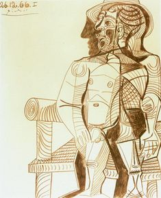 Pablo Picasso. Seated Man (Self Portrait), 1966