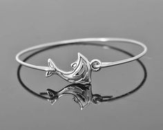Dolphin Bracelet Bangle Dolphin Jewelry Sterling by JubileJewel, $20.00