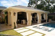 Pool Cabana in West University Covered Patio Design, Covered Patios, Pool Cabana, Outdoor Living Rooms, Backyard Patio, Pool Gazebo, Backyard Pavilion, Patio Bar, Pool Houses