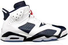 Mens Nike Air Jordan 6 Retro Olympic Edition Basketball Shoes White / Midnight Navy / Varsity Red 384664-130:Amazon:Shoes
