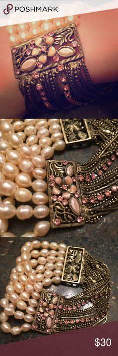 Vintage Style Bracelet! ❤️❤️ 🔶STUNNING, Vintage Style Multi- Gold Chain with Pink Stones & Baby Pink Pearls 🔶NEVER WORN, Brand New - was given to me as a Gift 🔶* Modeled by my 5-Year-Old Niece! 😍 🔶Gorgeous Bracelet that can stand alone as a statement piece or be paired with other Bangles! Jewelry Bracelets