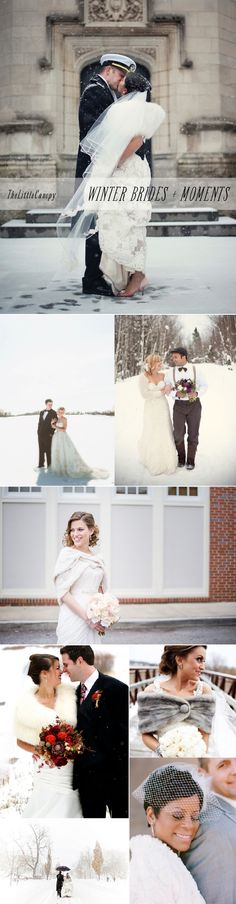 Inspiration Board of photos of brides in winter weddings showcasing different styles and vibes, but all sharing one common theme: romance.