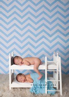 twins on bunk beds, Chelsea Lietz Photography, San Antonio, newborn photography, twin posing, baby boys on beds, boy twins, chevron