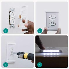 Outlet Wall Plate With LED Night Lights-No Batteries Or Wires – Ayiti Market : Home and Garden Store Led Night Light, Night Lights, Wooden Front Door Design, Home And Garden Store, Diy Home Repair, Lamp Socket, Wall Outlets, Luz Led, Outlet Covers