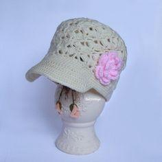 Crochet Baby Hats Cream Crochet Baby Hat Crochet Girl Hat handmade by TheCCVil...