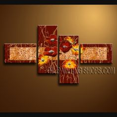 Huge Contemporary Wall Art Oil Painting On Canvas Gallery Stretched Poppy Flower. This 4 panels canvas wall art is hand painted by Bo Yi Art Studio, instock - $135. To see more, visit OilPaintingShops.com