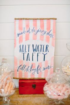 Taffy bar! http://www.stylemepretty.com/new-jersey-weddings/rumson/2015/04/24/nautical-chic-summer-wedding-at-rumson-country-club/ | Photography: Love & Light - http://loveandlightphotographs.com/
