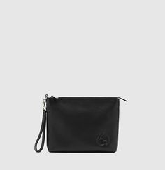 pochette de voyage en cuir noir