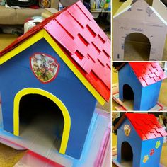 Turning a cardboard box into a Paw Patrol dog house for my nephew's birthday party.