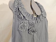Plus Size Sleeveless Gray Jersey Top with Ruffles and Lace-up Back, made from 100% upcycled materials