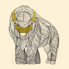 BUFFALO ART PRINT Native Animal Line Drawing by Thailan by Thailan