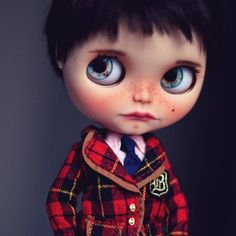 This little doll was the first Blythe I ever customised. There's been a few changes over the years, and finally ending up as a boy. Despite his imperfections I feel he has a certain charm  #Blythe #doll #blythedoll