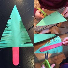 """""""Scissor Snipped Christmas Trees"""" is the perfect activity for rookie scissor users. We cut triangles out of green construction paper, then… Preschool Christmas Crafts, Daycare Crafts, Holiday Activities, Toddler Crafts, Preschool Crafts, Holiday Crafts, Holiday Fun, Christmas Activities For Children, Christmas Projects"""