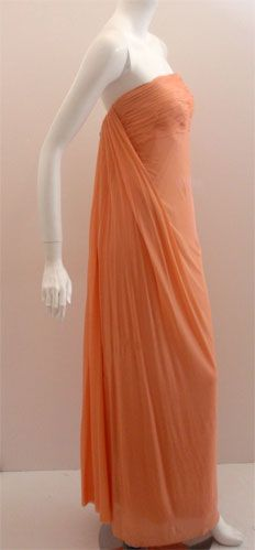 TRAVILLA Peach Goddess Gown, Circa 1970's | From a collection of rare vintage evening dresses at https://www.1stdibs.com/fashion/clothing/evening-dresses/