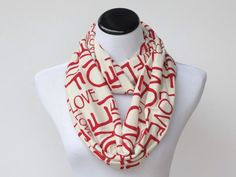 Infinity scarf love letters scarf circle scarf loop scarf red white ivory scarf Valentine day gift idea for girl, gift for her by HappyScarvesByLesya on Etsy https://www.etsy.com/listing/172064847/infinity-scarf-love-letters-scarf-circle