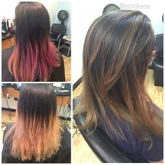 Corrective color for medium length hair cut. Got rid of red pink and purple tones and made it caramel hand painted natural looking highlights . Easy maintenance