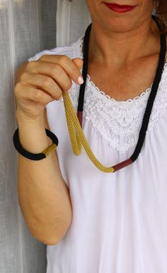 Long cord necklace, black and yellow necklace, fiber and bronze necklace, simple geometric necklace by kokona on Etsy