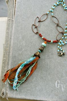 Gypsy tassel girl. long beaded tassel necklace. by tiedupmemories