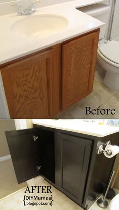 refinishing cabinets a must pin quick make over for any bathroom or kitchen