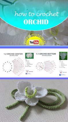 Free video tutorial with english subtitles how to crochet orchid, tunisian crochet.