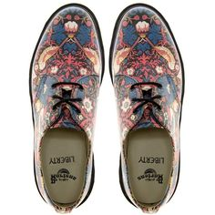 Dr Martens Liberty London William Morris 3 Eye Shoes (€120) ❤ liked on Polyvore featuring shoes, oxfords, flats, sapatos, flat shoes, round toe shoes, chunky shoes, dr. martens and dr martens shoes