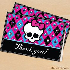 FREE Printable Monster High Thank You Card