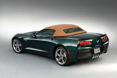The Corvette Stingray Premiere Edition Convertible is a range-topping 3LT model with Lime Rock Green exterior and Brownstone suede interior.