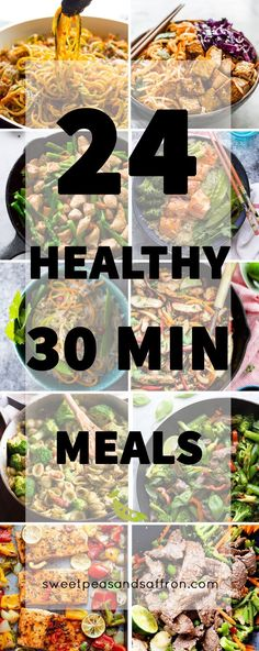 A ton of ideas for healthy 30 minute meals...get dinner on the table easily with…